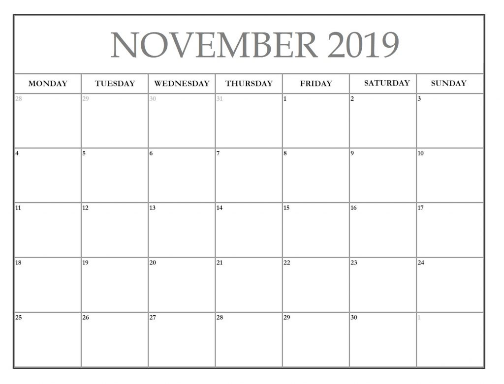 Editable November 2019 Planner