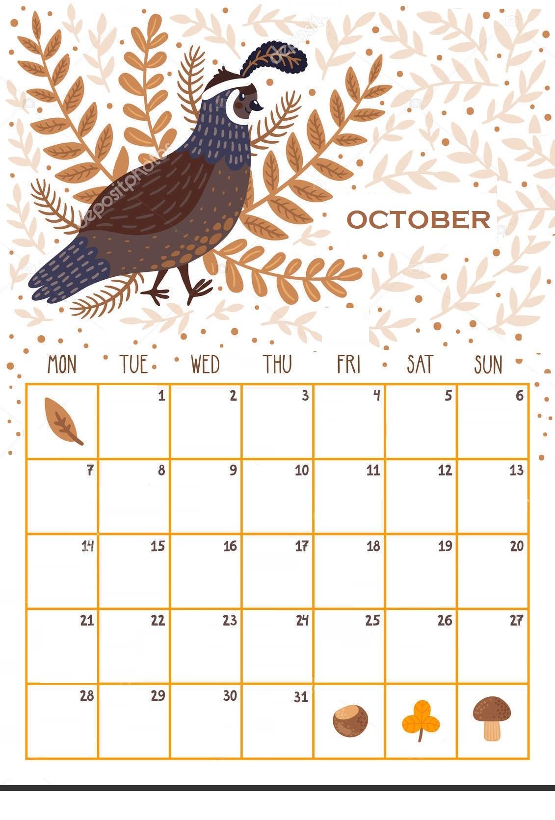 Floral October 2019 Calendar Design