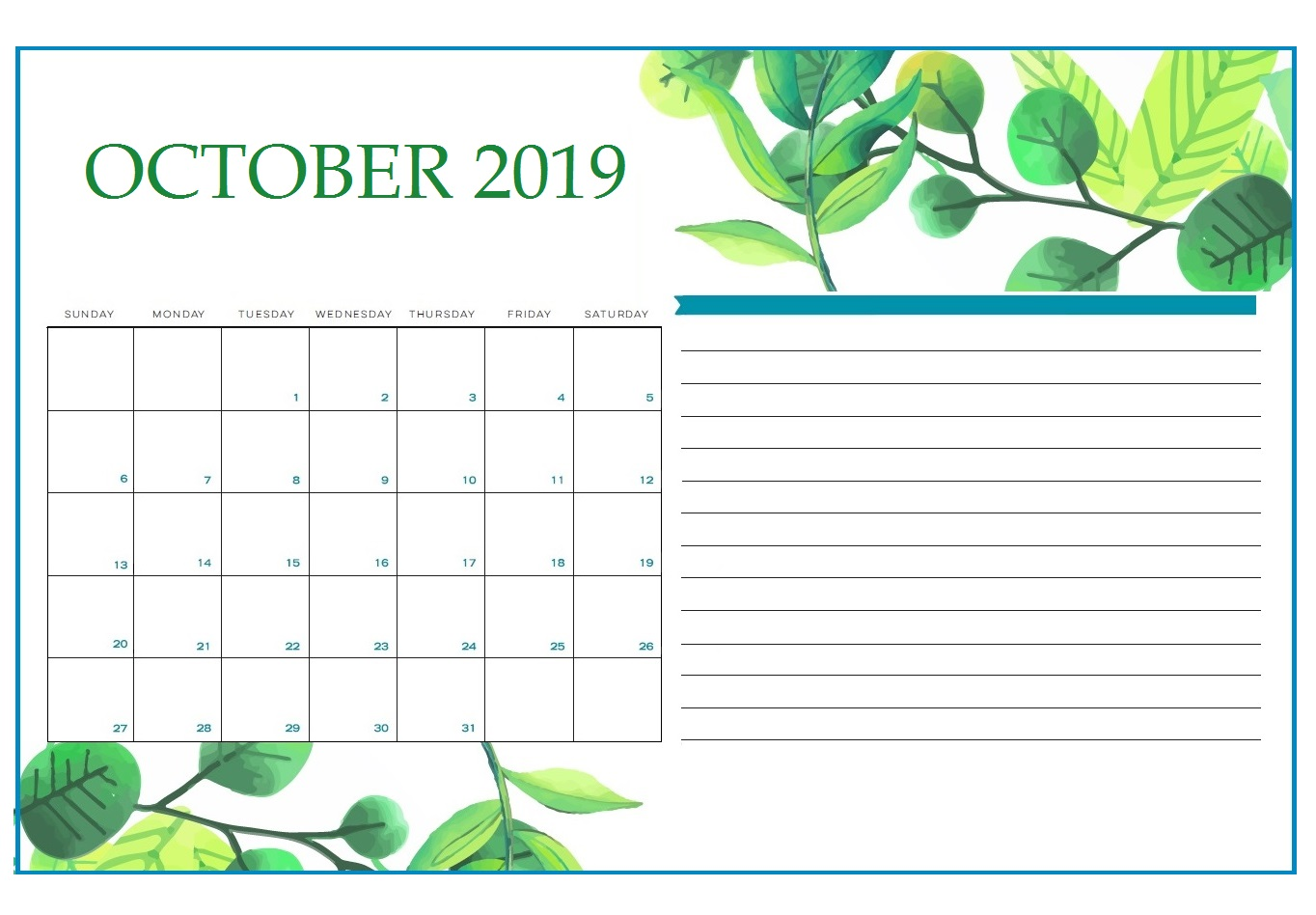 Floral October 2019 Calendar Printable