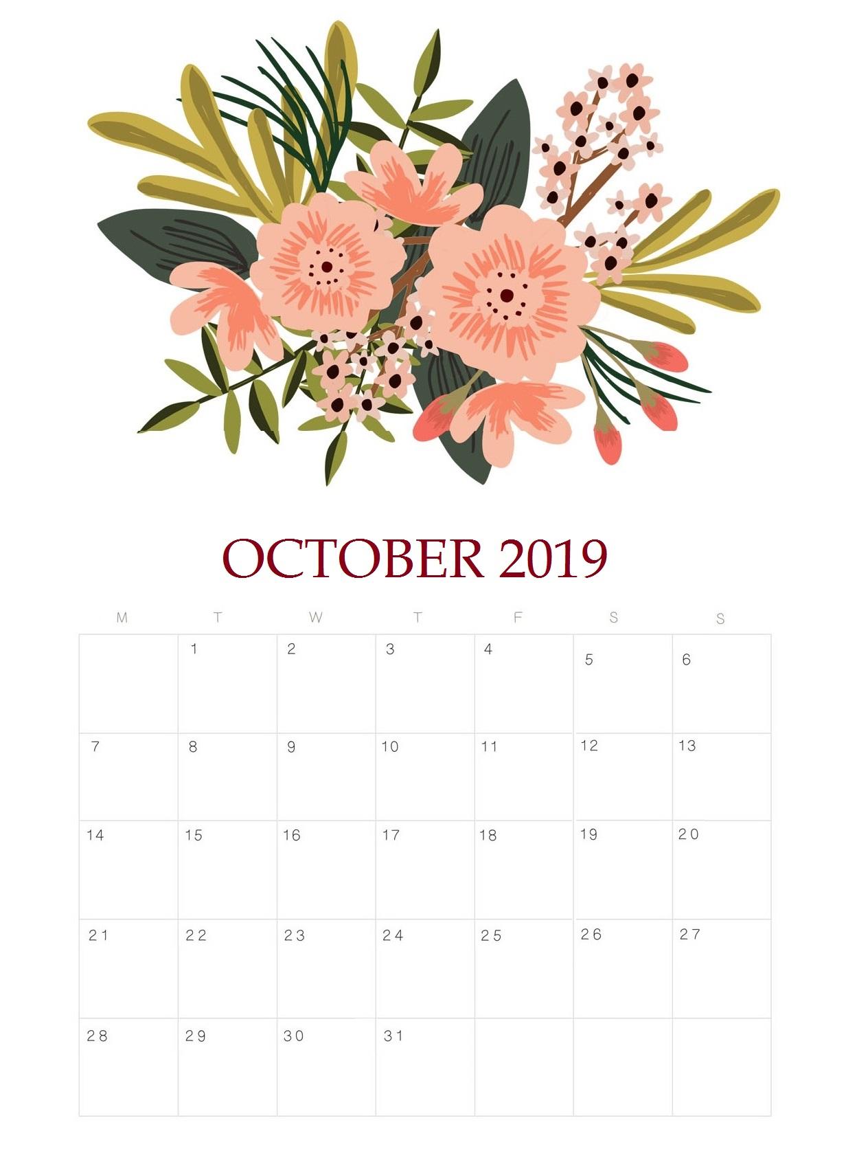 Floral October 2019 Calendar