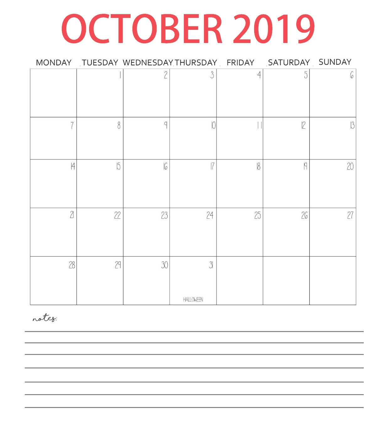 Free October 2019 Blank Template