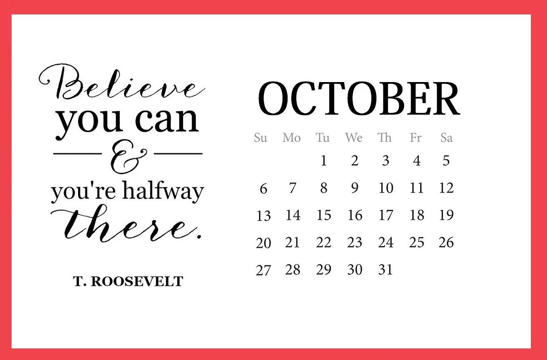 Inspirational October 2019 Printable Calendar