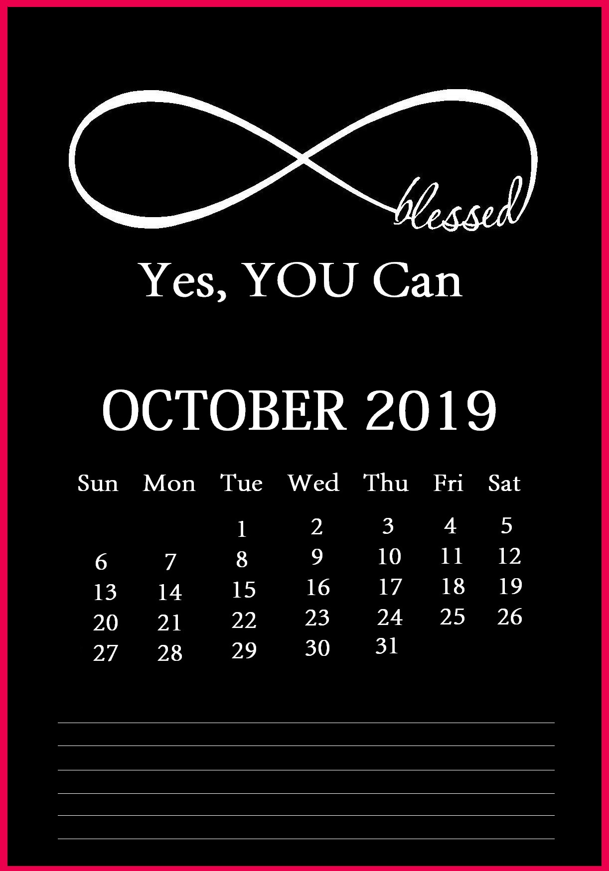 Inspiring October 2019 Desk Calendar