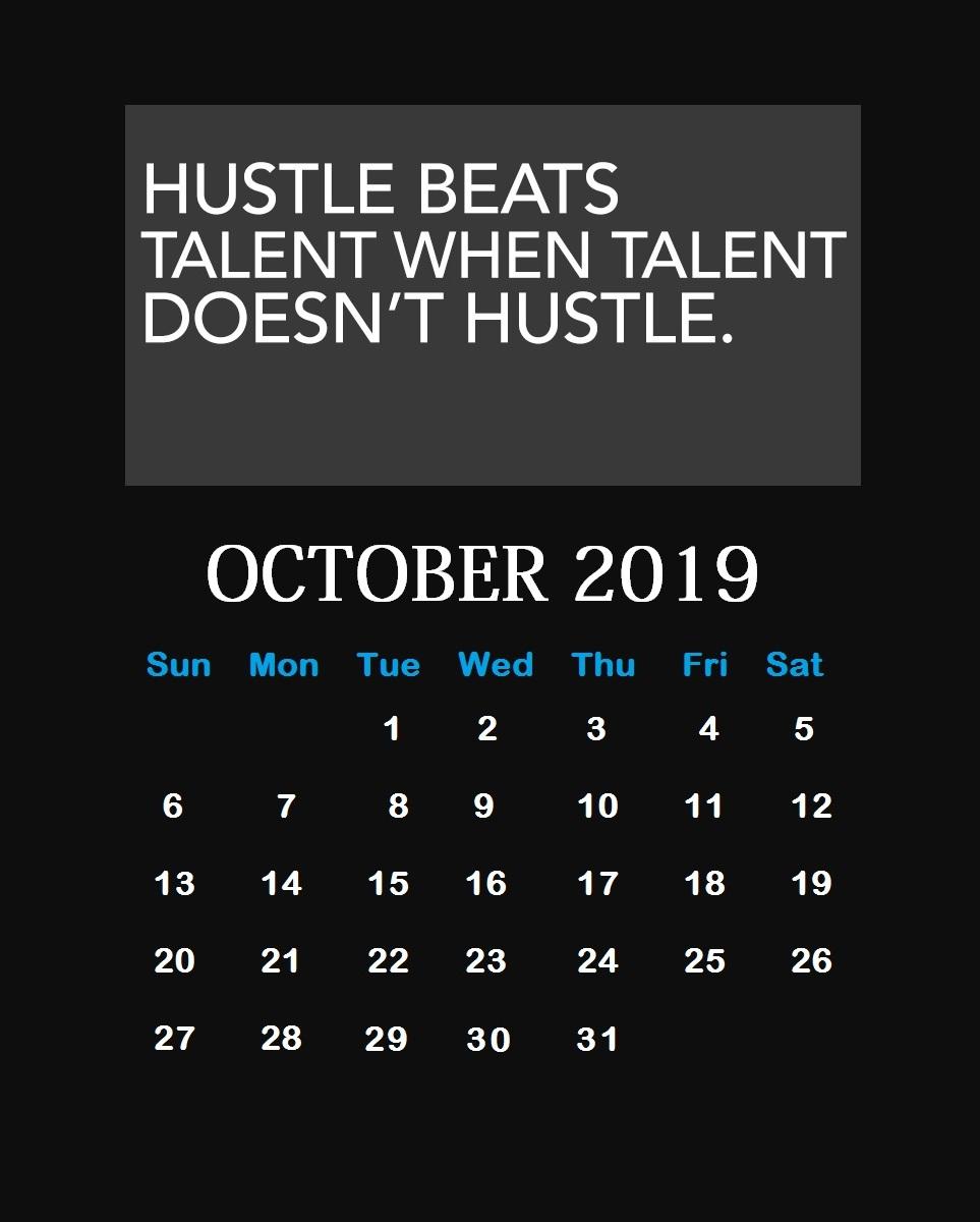 Inspiring October 2019 Quotes Calendar