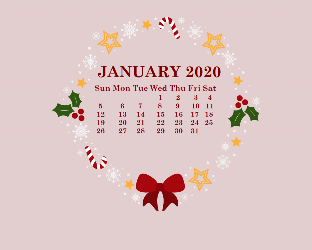 January 2020 HD Calendar Wallpaper