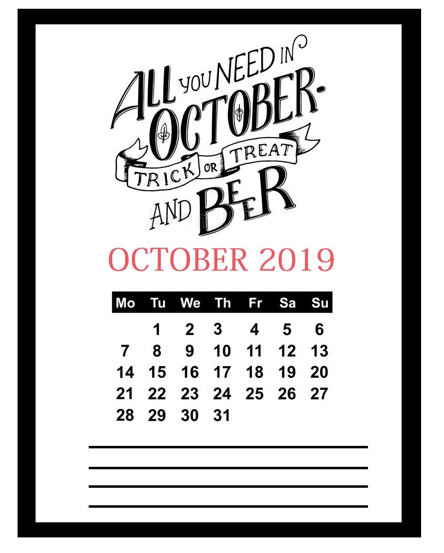 Motivational Quotes October 2019 Calendar