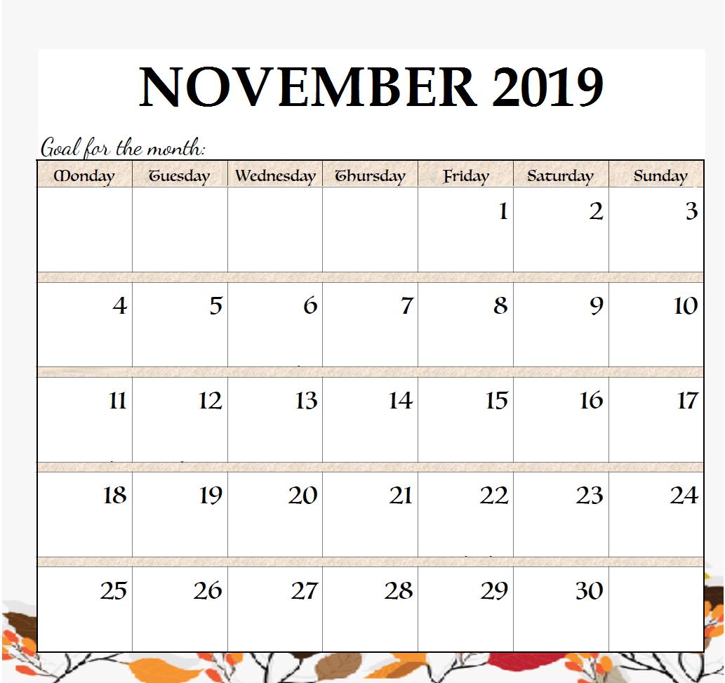 November 2019 Calendar Editable