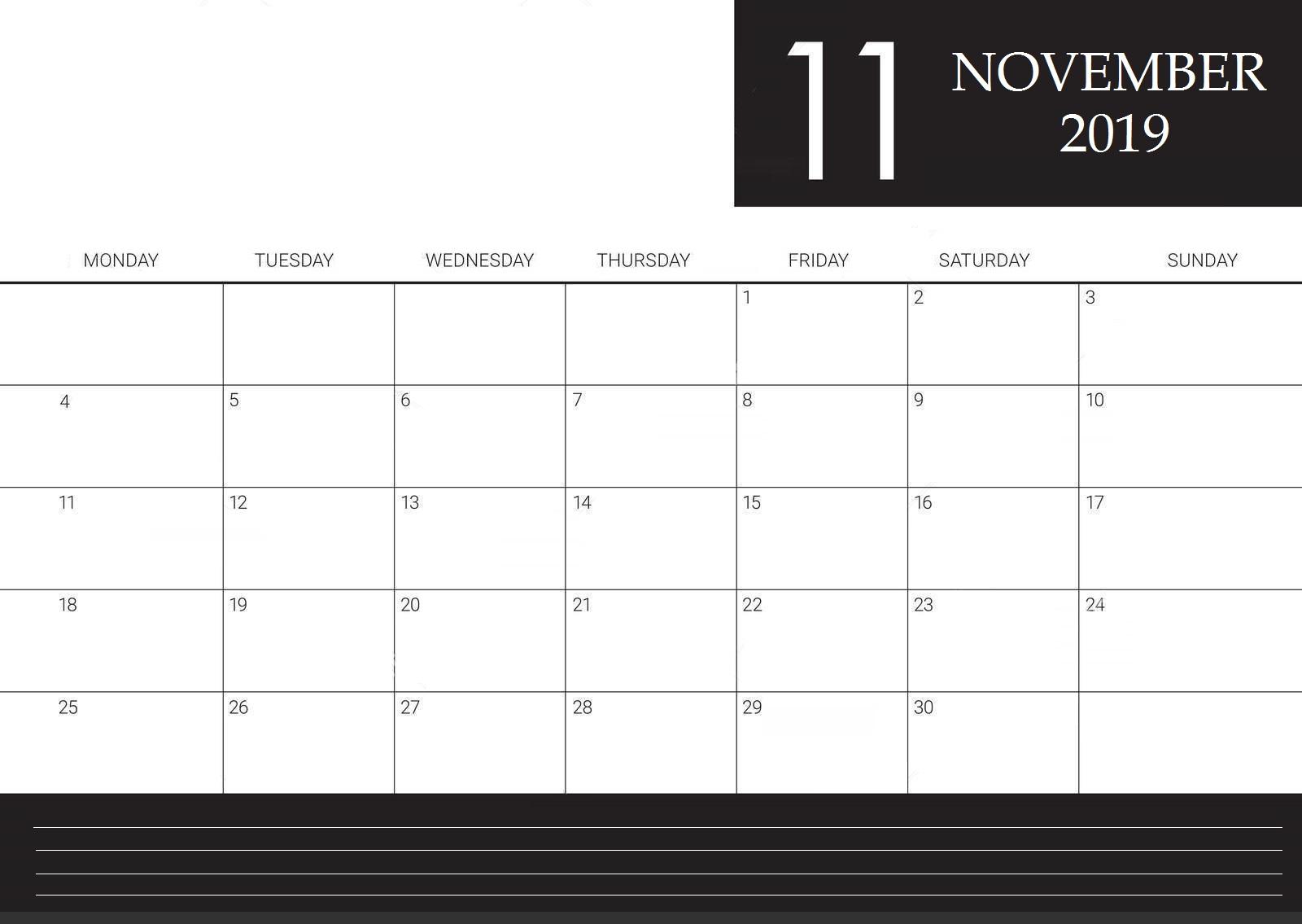 November 2019 Calendar For Workplace