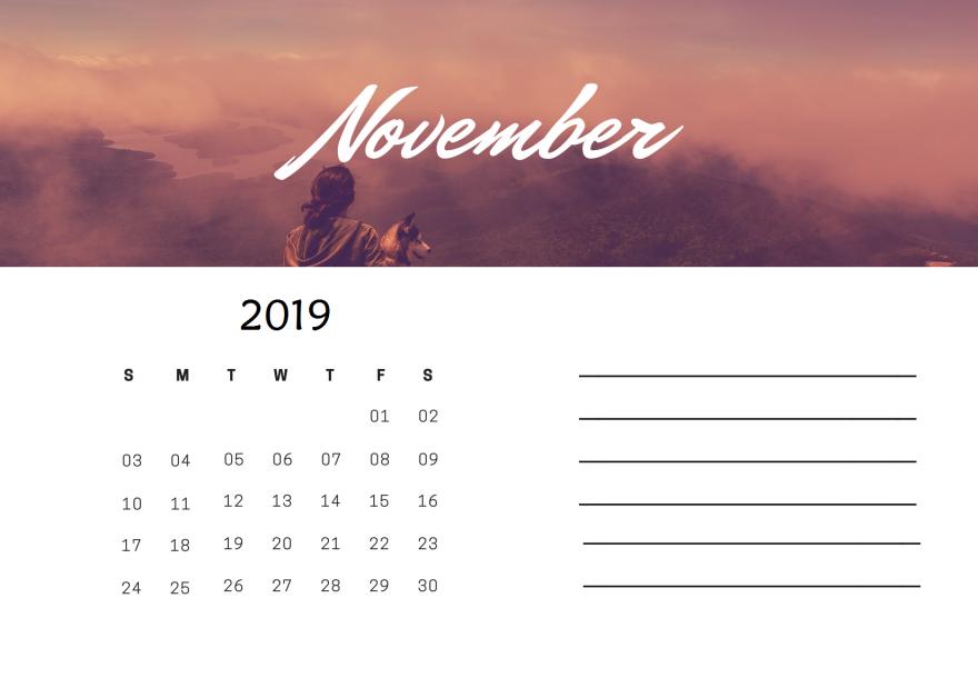 November 2019 Calendar To Print