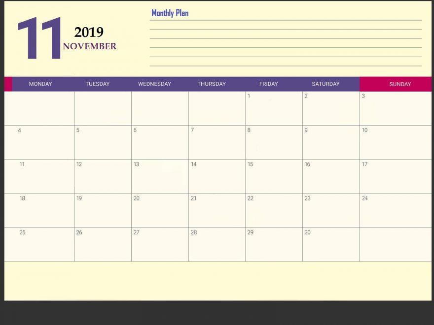 November 2019 Desk Calendar Template