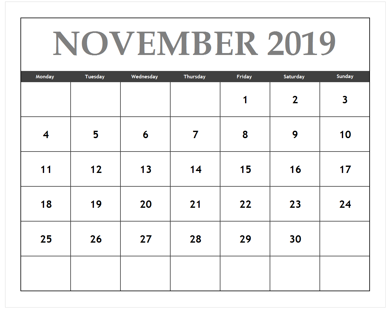 November 2019 Editable Blank Template