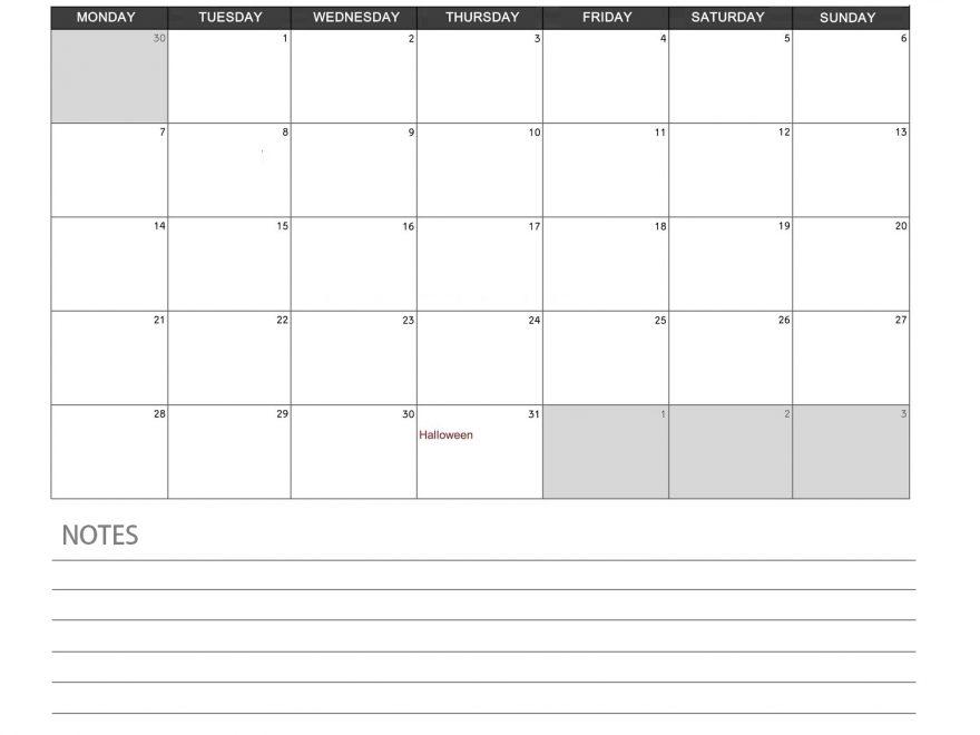 October 2019 Blank Calendar Planner