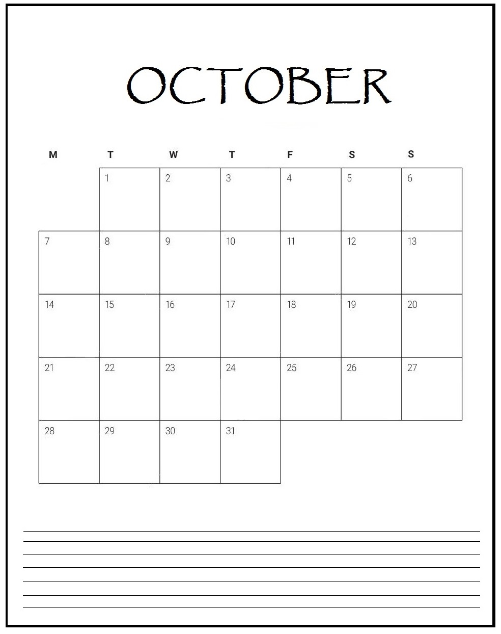 October 2019 Blank Planner
