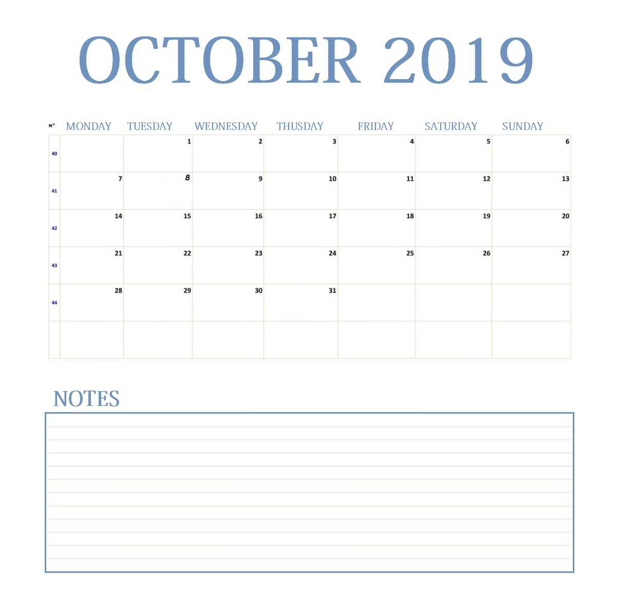 October 2019 Blank Template