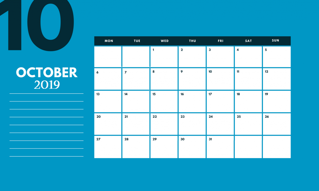 October 2019 Calendar Design