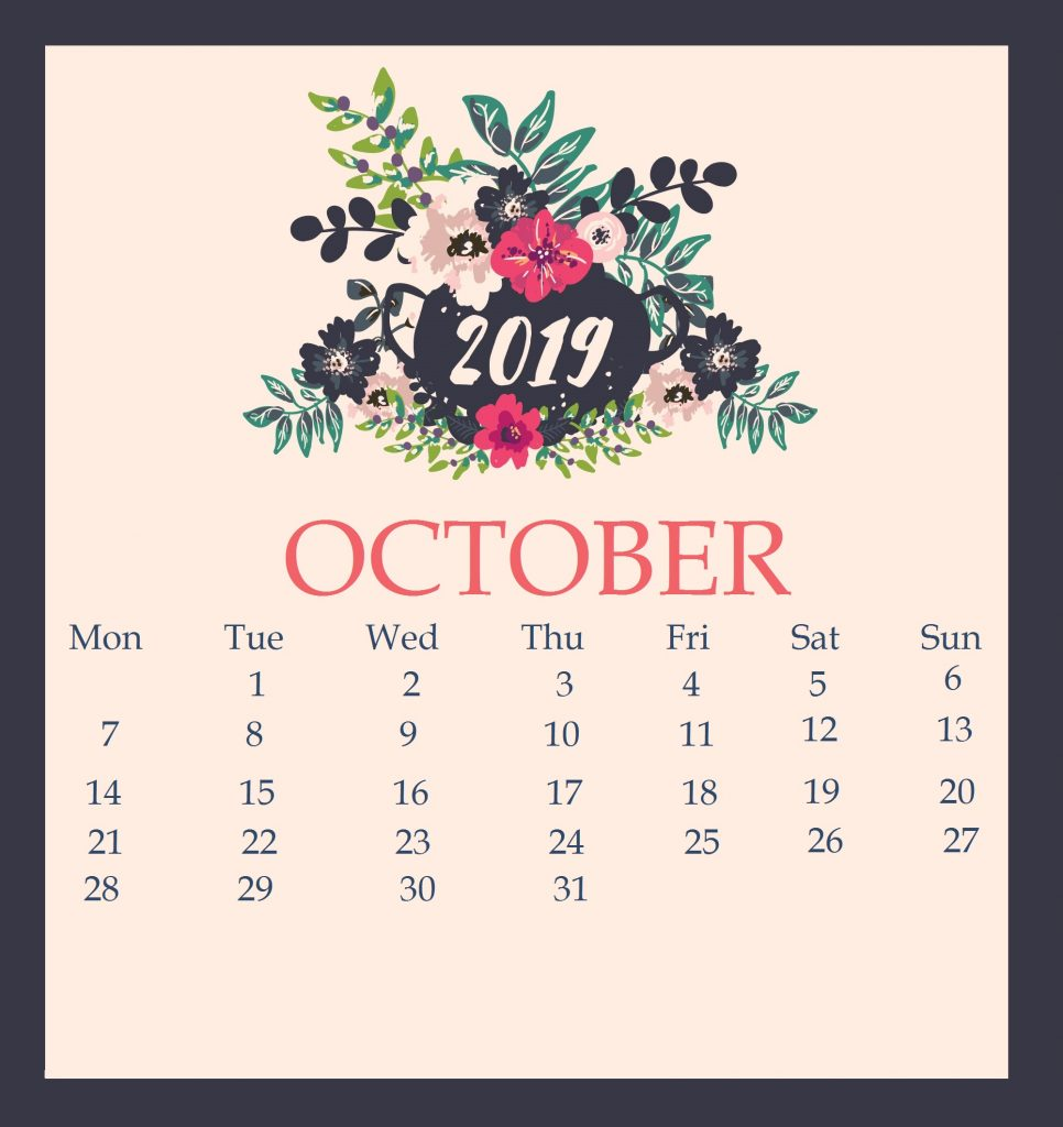October 2019 Calendar With Floral Elements
