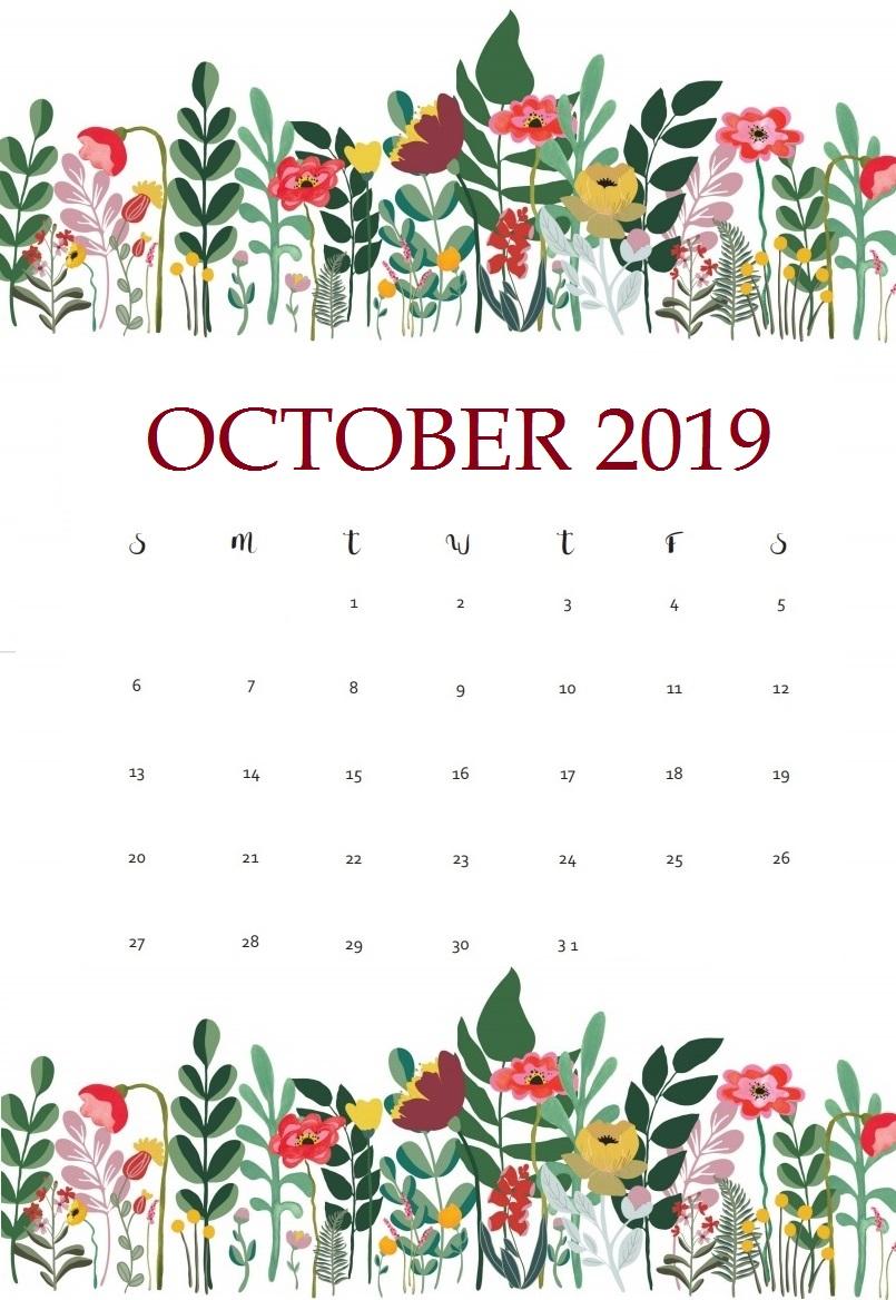 October 2019 Desk Floral Calendar