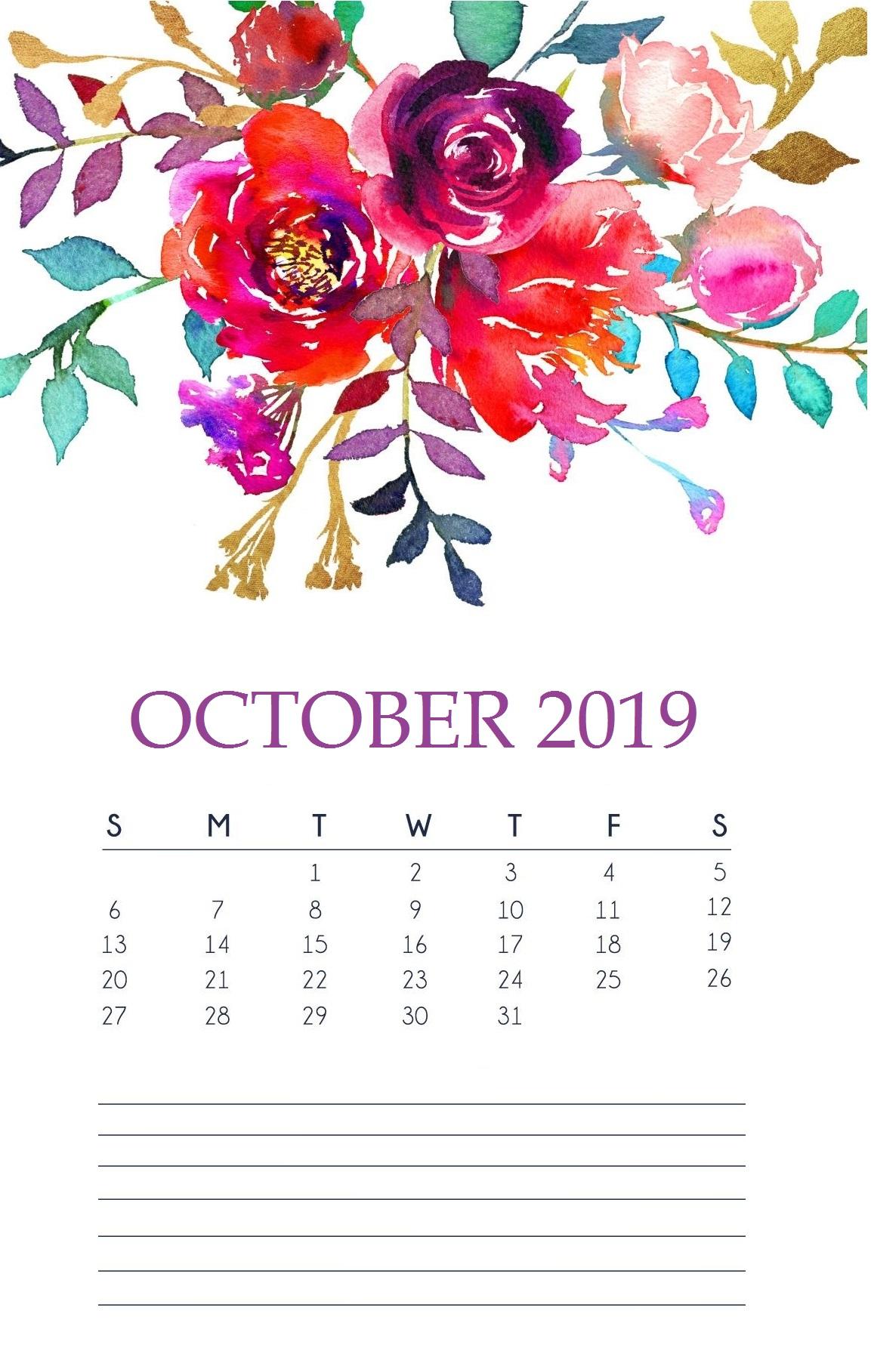 October 2019 Floral Wall Calendar