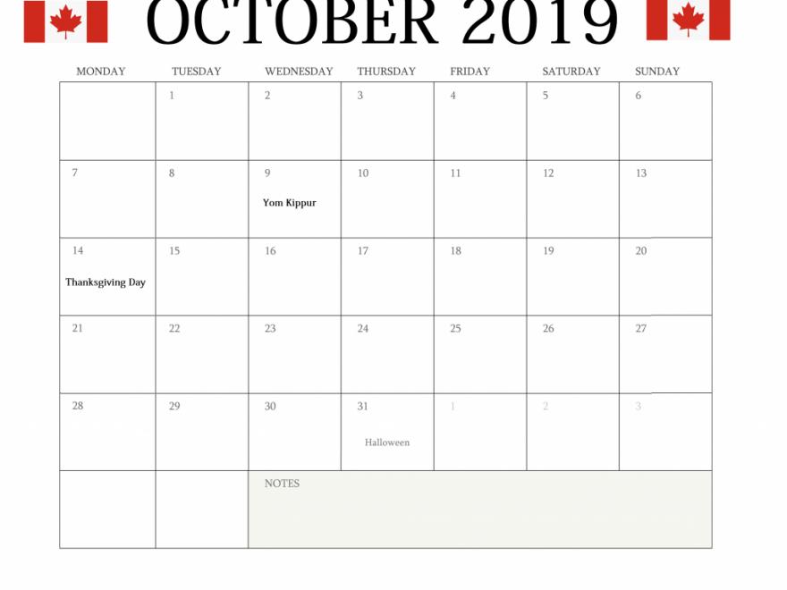 October 2019 Holidays Calendar Canada