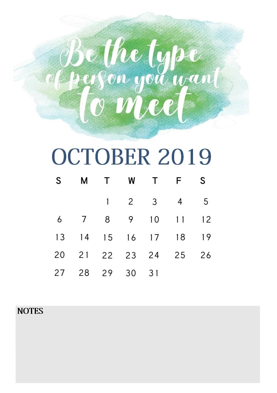 October 2019 Quotes Calendar