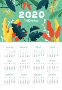One Page 2020 Free Calendar