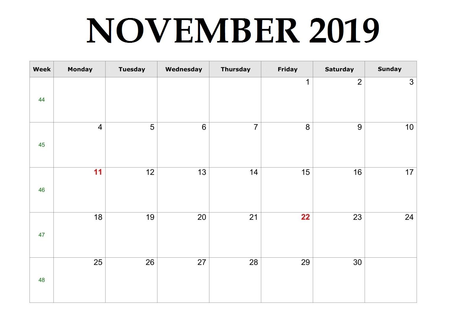 Online November 2019 Calendar Maker