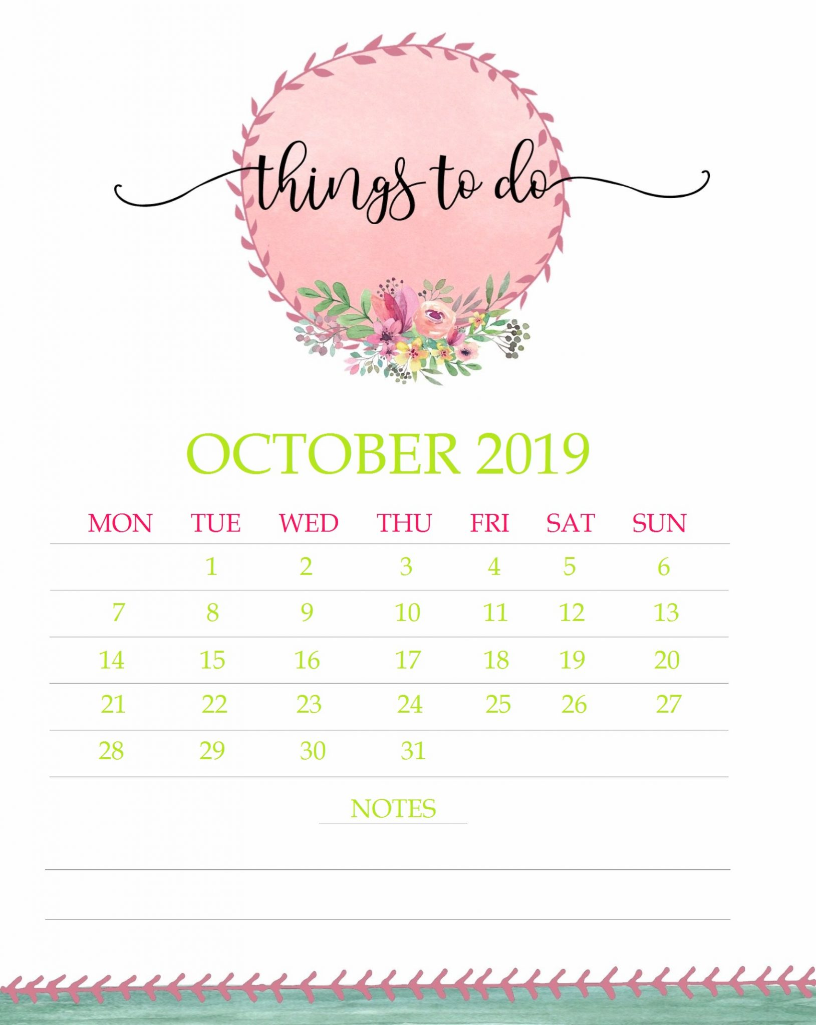 Pretty Floral October 2019 Template