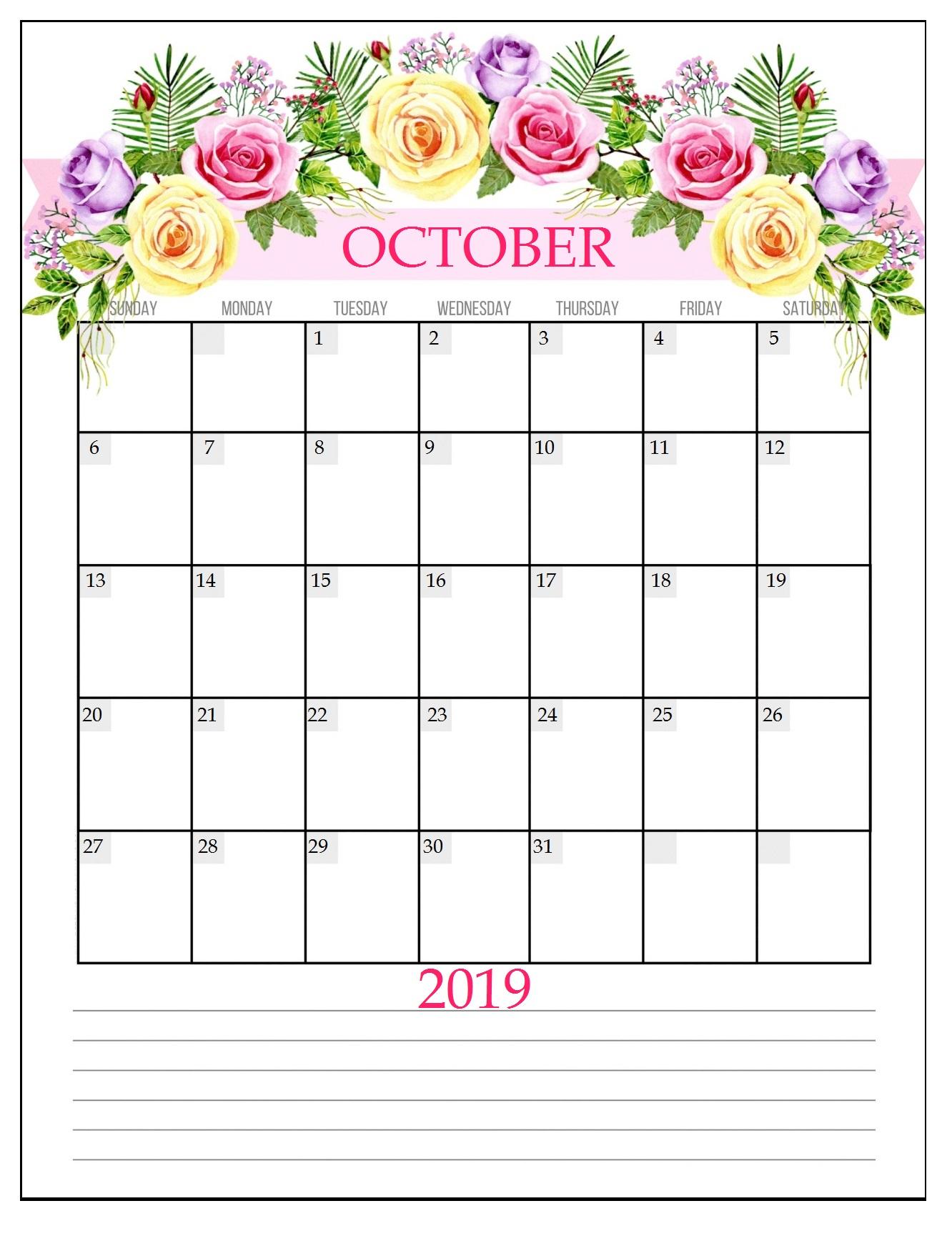 Printable October 2019 Floral Planner