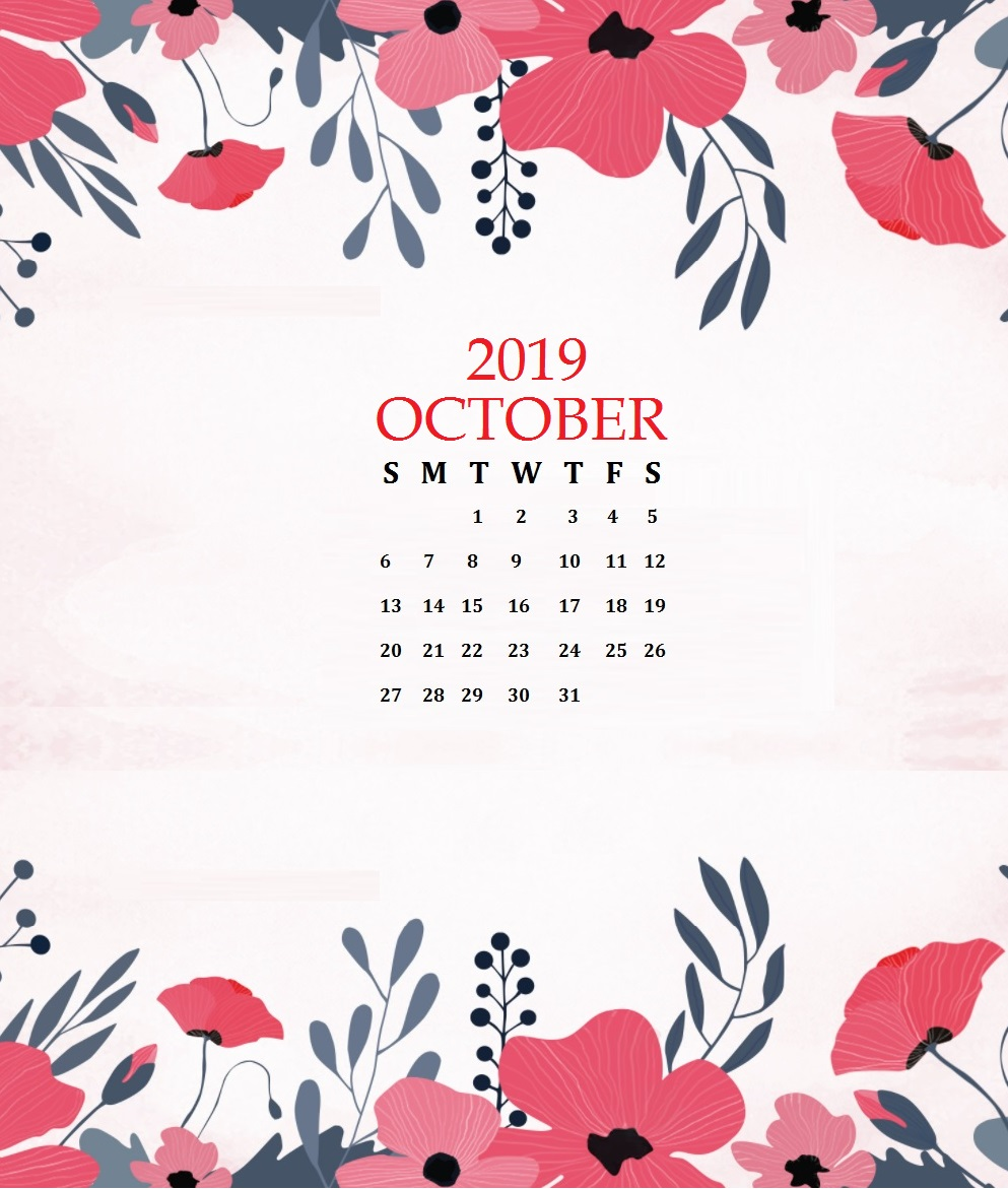 Watercolor October 2019 Floral Calendar