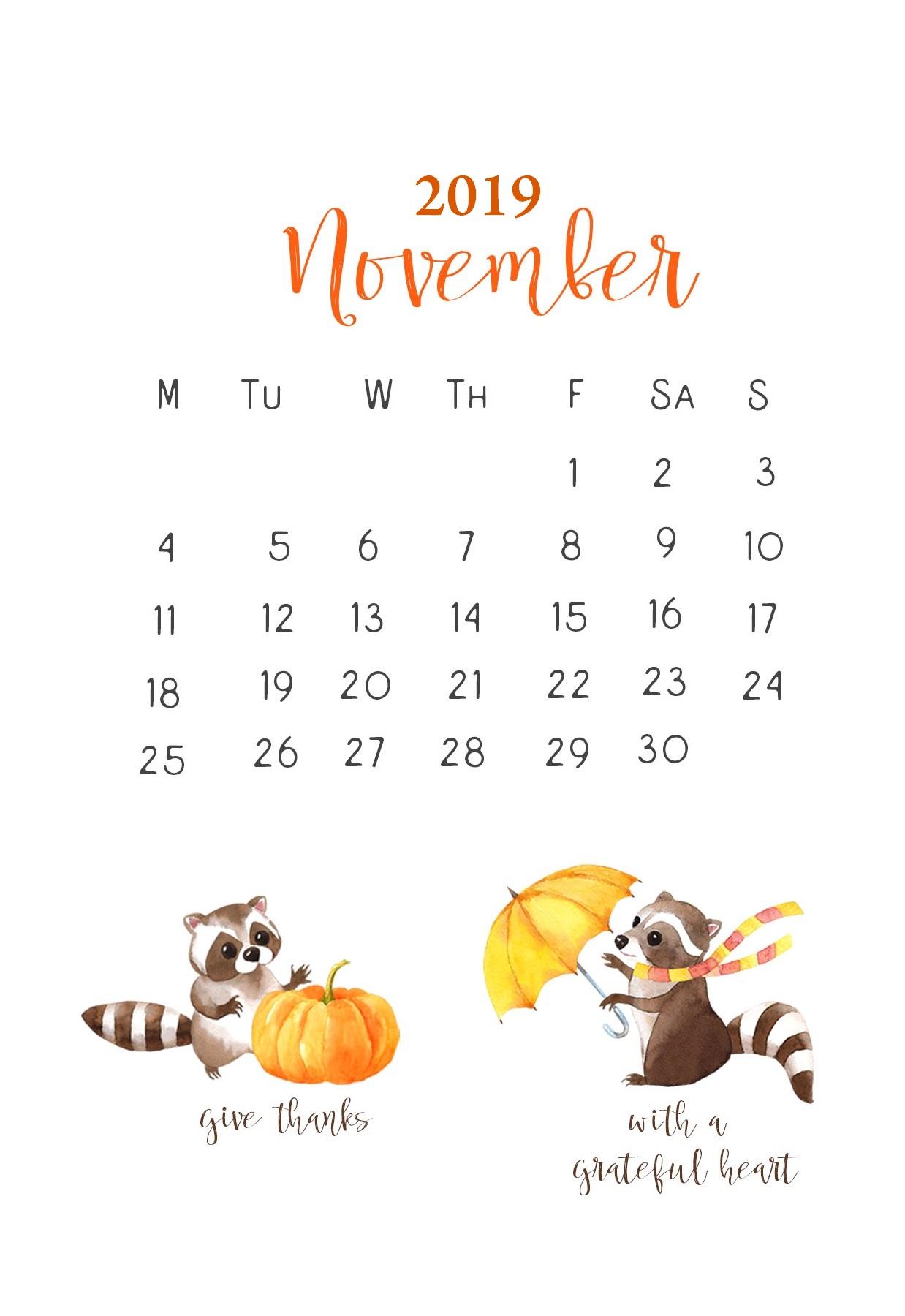 iPhone Wallpaper November 2019 Calendar