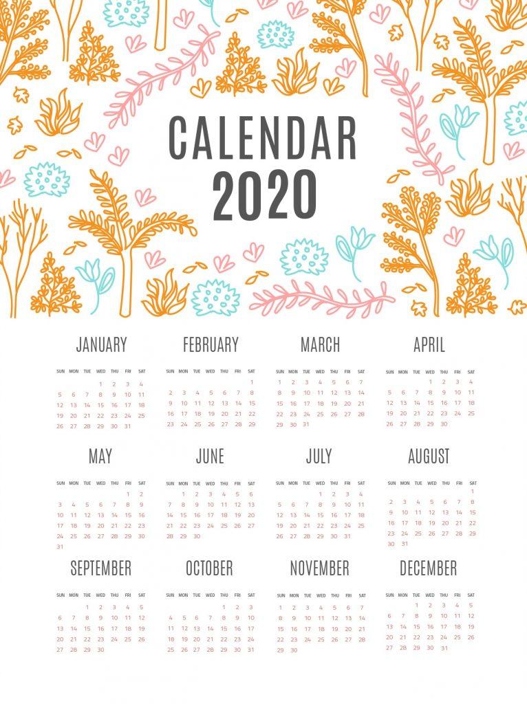 2020 Twelve Months Calendar