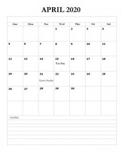 April 2020 Holidays Calendar