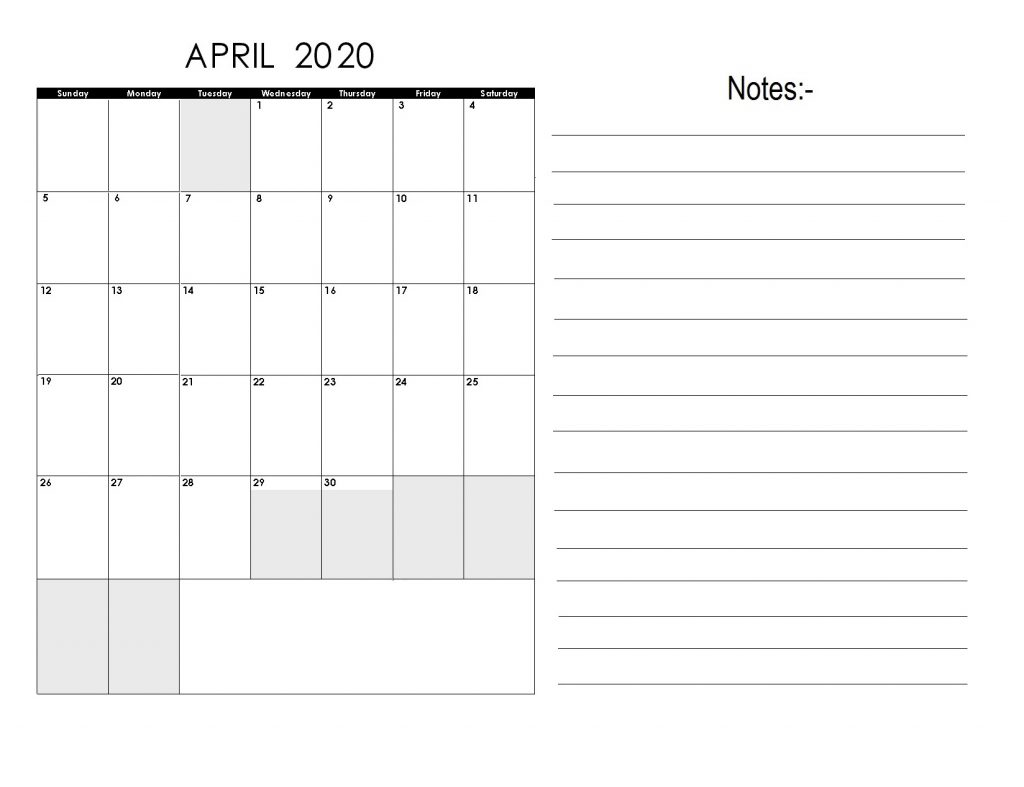 April 2020 Monthly Planner