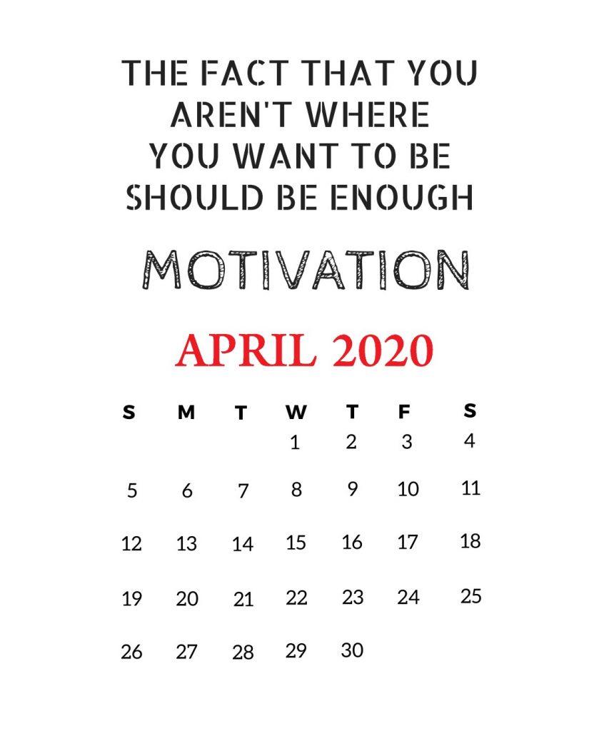April 2020 Motivational Calendar