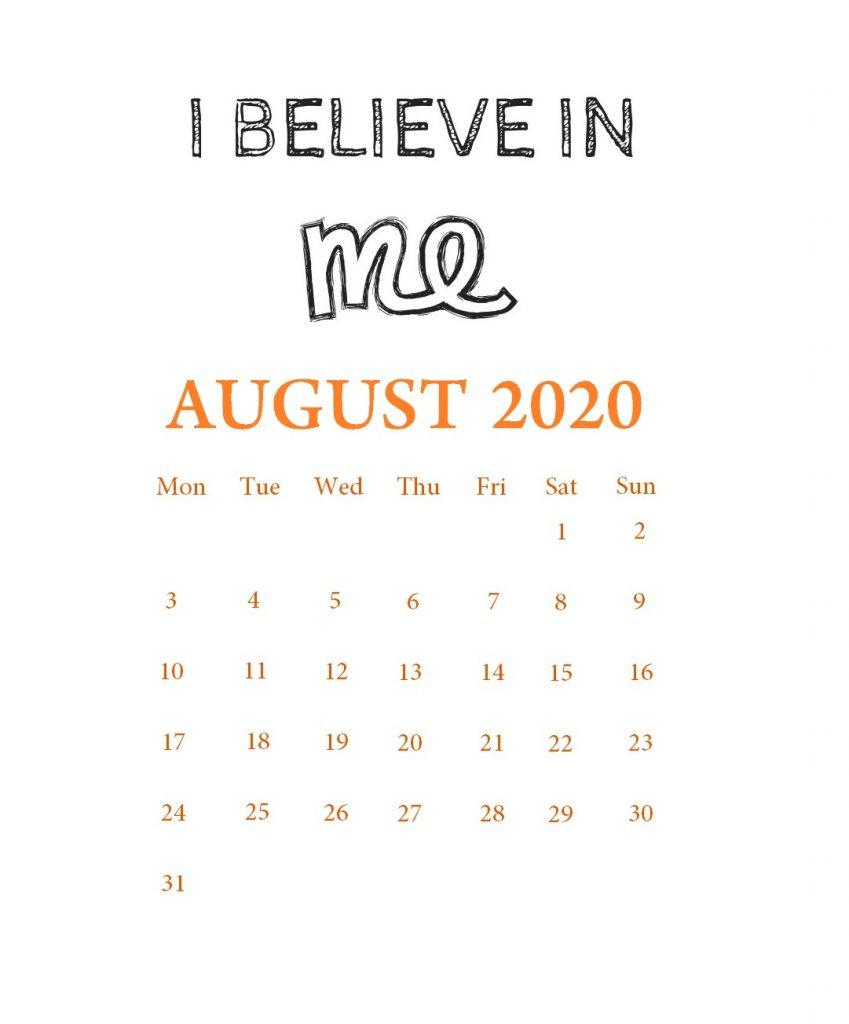 August 2020 Motivational Calendar