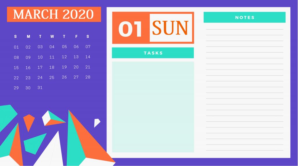 Beautiful March 2020 Calendar Design