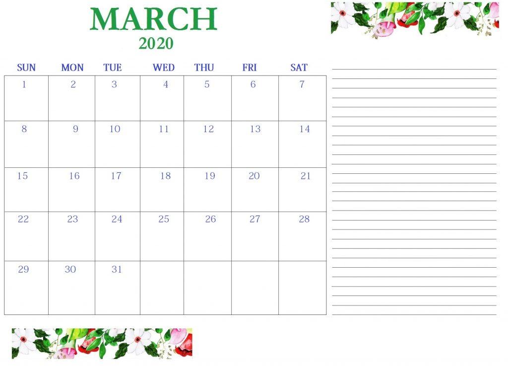 Best March 2020 Calendar Template
