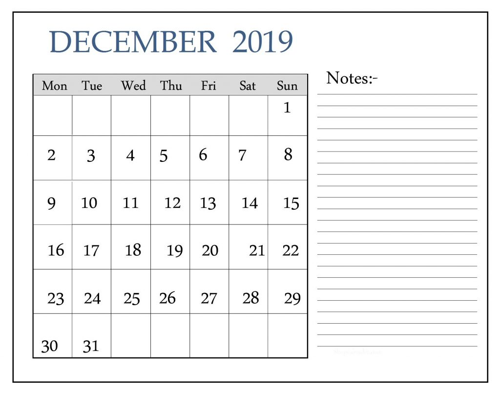Blank December 2019 Calendar With Notes