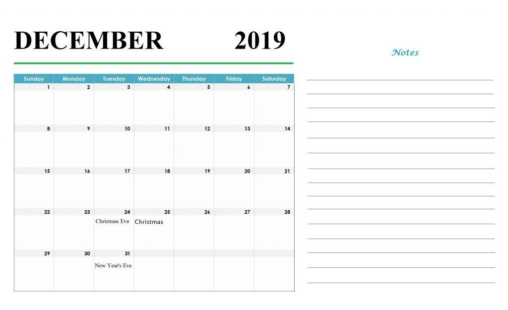 Blank December 2019 Holidays Calendar