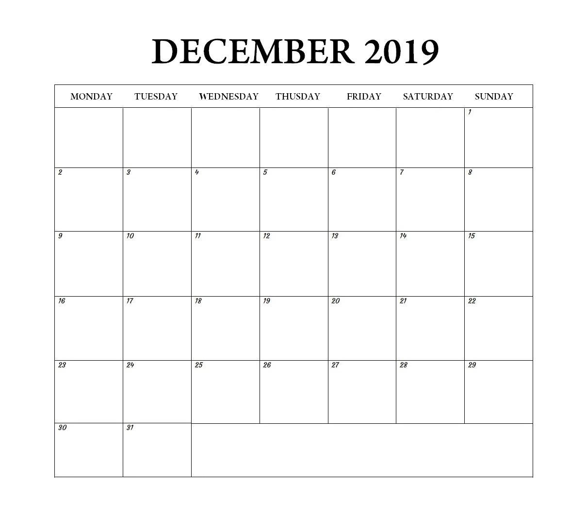 Blank December 2019 Weekly Planner