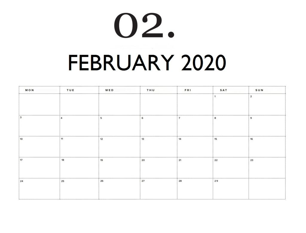 Blank February 2020 Wall Calendar