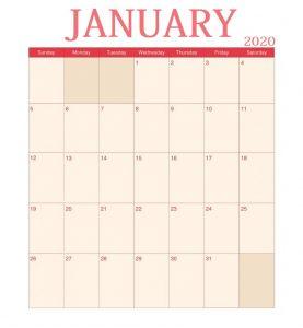 Blank January 2020 Wall Calendar