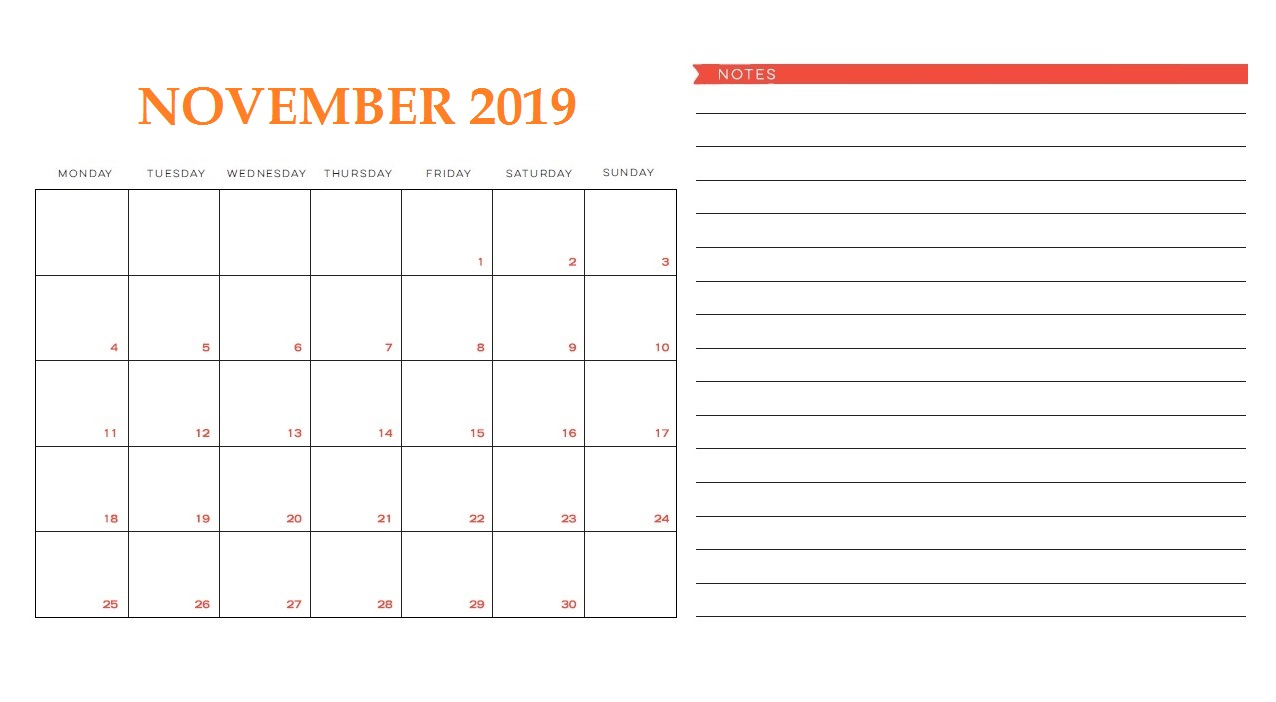 Blank November 2019 Wall Template