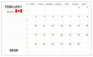 Canada February 2020 Calendar