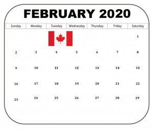 Canada February 2020 Holidays Calendar