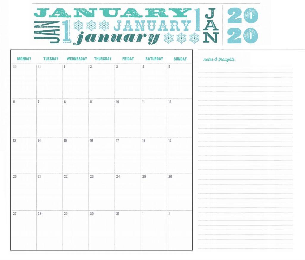 Colorful January 2020 Desk Calendar