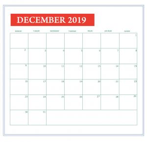 Customized December 2019 Calendar