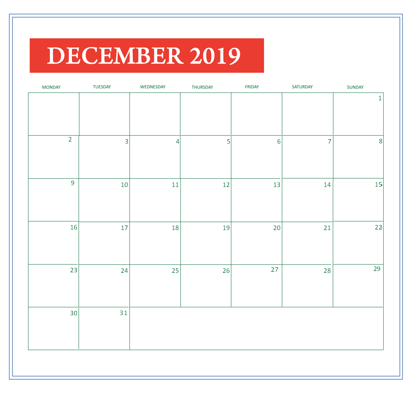 Customized December 2019 Calendar