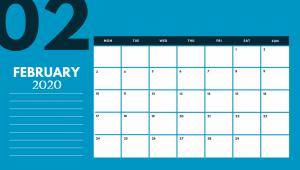 Cute February 2020 Office Desk Calendar