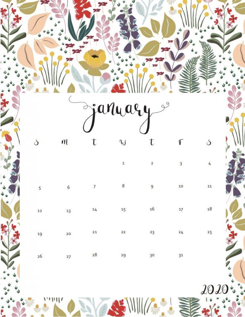 Cute January 2020 Calendar Design
